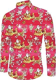 Men Ugly Christmas Shirt Long Sleeve Xmas Print Button Down Dress Shirt