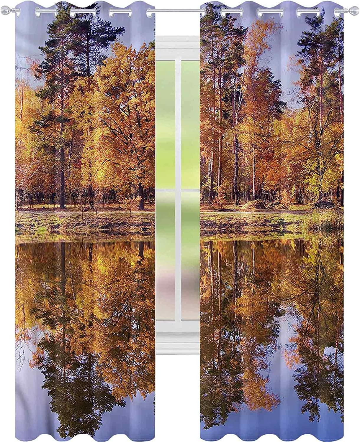 Window Curtain Drape Direct stock discount Landscape Dreamy Scenic Outlet sale feature Forest x L Fall W52
