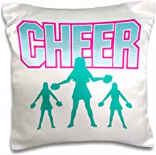 3dRose Cheerleading Cheerleader Cheer Sports Design - Pillow Case, 16 by 16-inch (pc_116297_1)