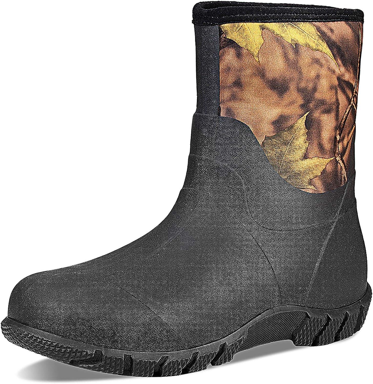TENGTA Men's Mid Calf Super intense SALE Warm San Francisco Mall Boot Insulated Rubber Waterproof Rain