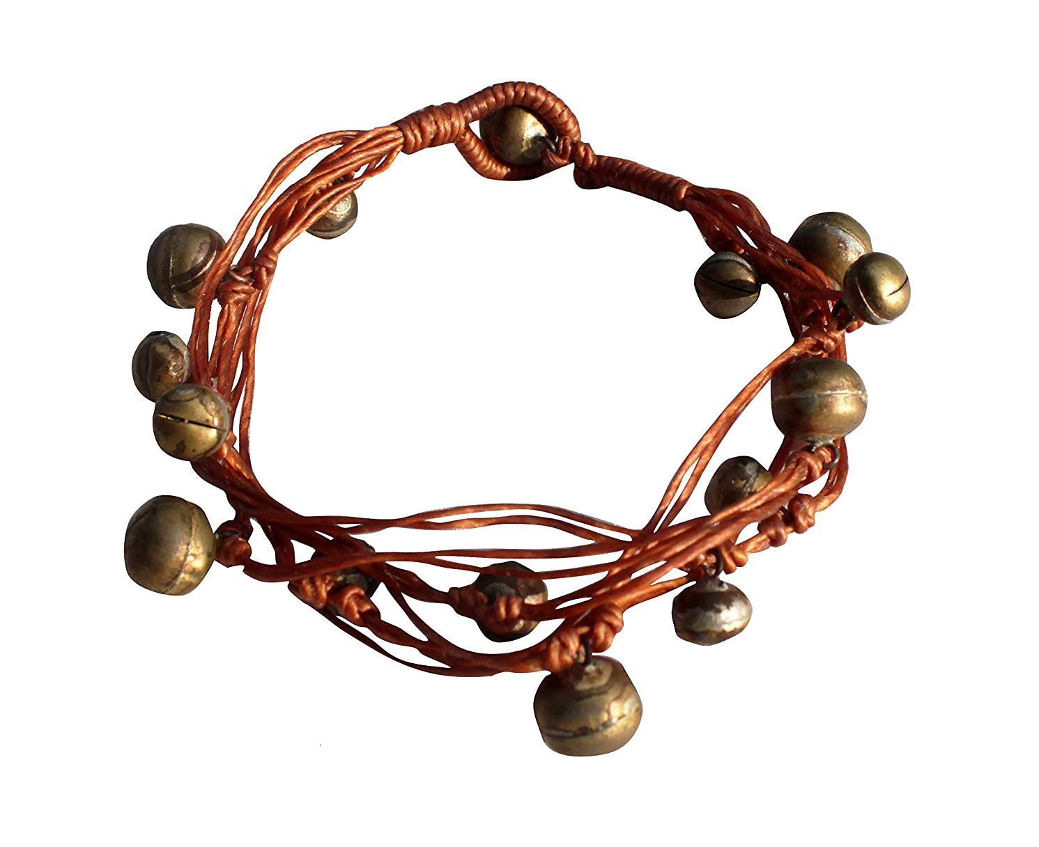 RaanPahMuang Beaded Waxed String Natural Gypsy or Festival Style Bell Anklets