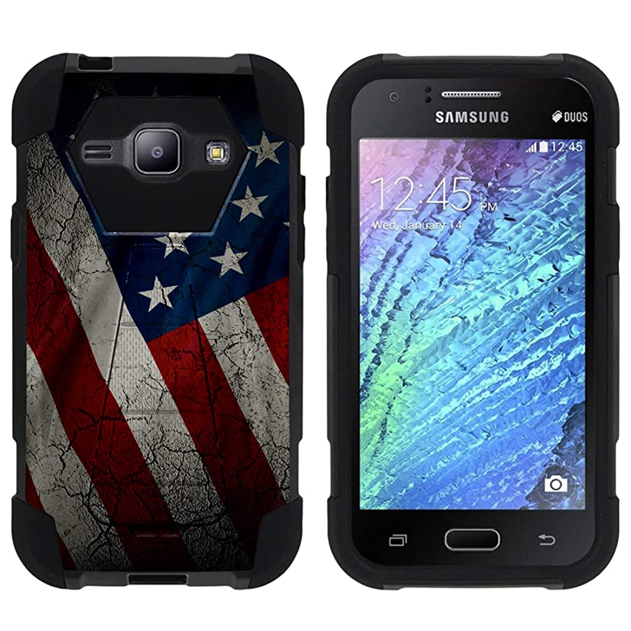 TurtleArmor   Compatible for Samsung Galaxy J1 Case   J100 (2015) [Dynamic Shell] Hybrid Dual Layer Hard Shell Cover Kickstand Silicone Case - American Flag