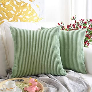 MERNETTE New Year/Christmas Decorations Corduroy Soft Decorative Square Throw Pillow Cover Cushion Covers Pillowcase, Home Decor for Party/Xmas 18x18 Inch/45x45 cm, Bean Green, Set of 2