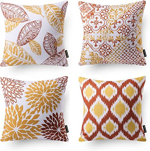 popular Phantoscope Set of 4 New Living Series Decorative Orange and Yellow Throw Pillow Case Cushion Cover Double Side Design 18 x 18 inches high quality popular 45cm x 45cm sale