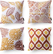 Phantoscope Set of 4 New Living Series Decorative Orange and Yellow Throw Pillow Case Cushion Cover Double Side Design 18 x 18 inches 45cm x 45cm