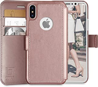 LUPA iPhone X Wallet Case -Slim & Lightweight iPhone X Flip Case with Credit Card Holder - iPhone 10 Wallet Case For Women & Men - Faux Leather i phone Xs Purse Cases with Magnetic Closure – Rose Gold