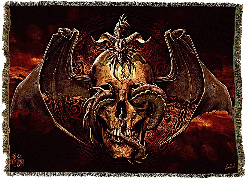 Pure Country Weavers Dissent Fantasy Dragon Skull Blanket and Woven Wall Hanging Tapestry with Fringe 72x54 Cotton USA