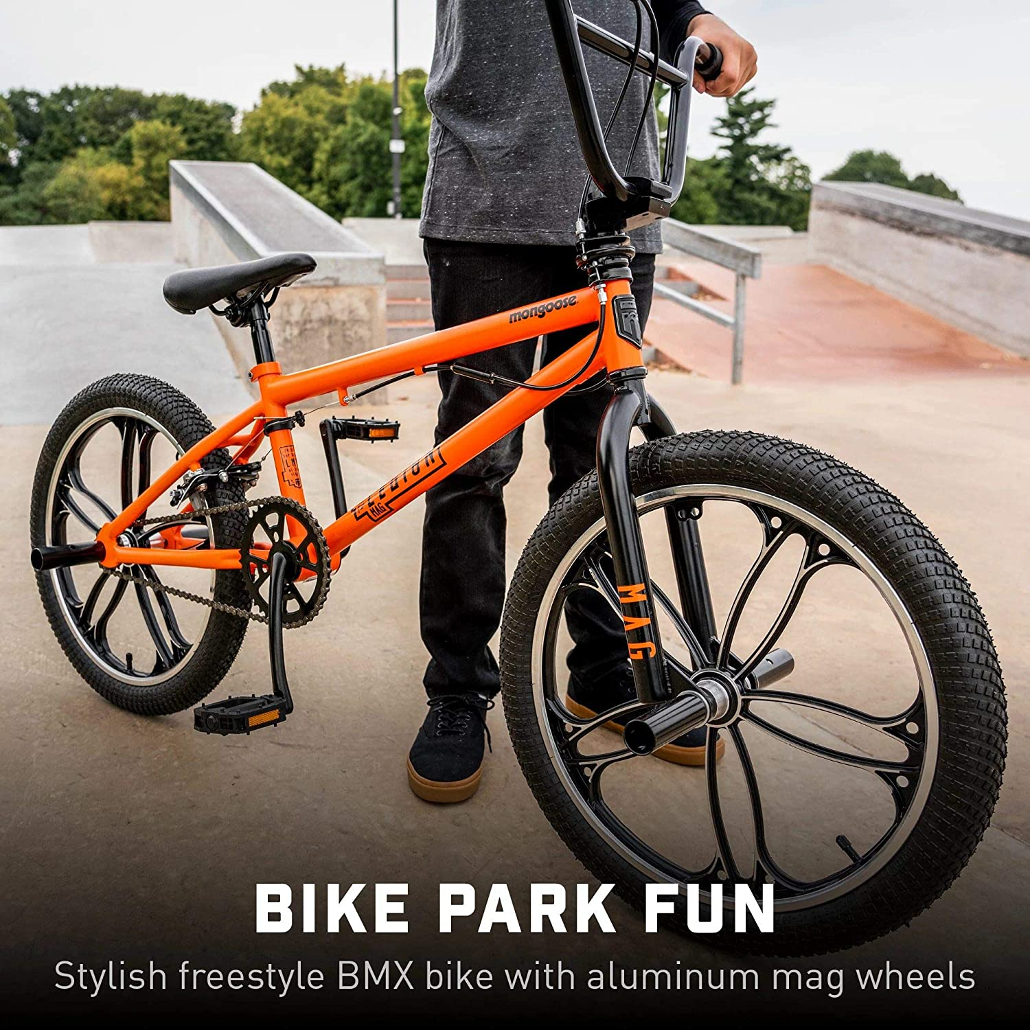 Mongoose Legion Mag Freestyle Sidewalk BMX Bike for Kids, Children and Beginner-Level to Advanced Riders, 20-inch Wheels, Hi-Ten Steel Frame, Micro Drive 25x9T BMX Gearing, Silver : Everything Else