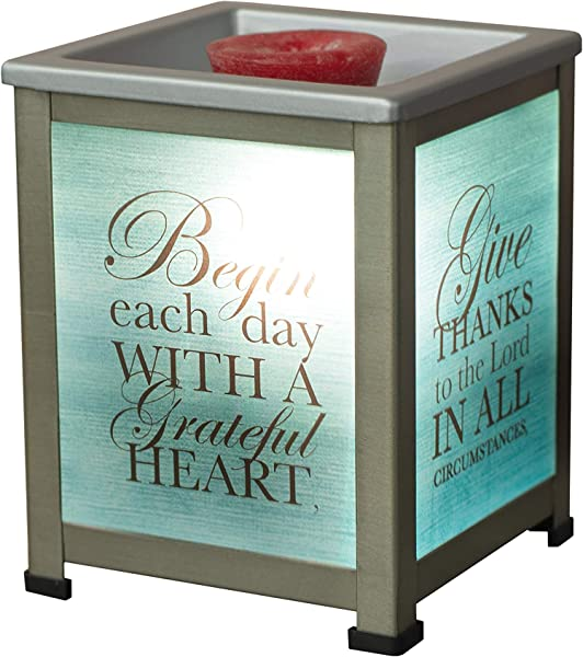 Elanze Designs Begin Day With Grateful Heart Teal Silvertone Metal Electrical Wax Tart Oil Glass Lantern Warmer