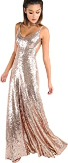 Women's Sexy V Neck Backless Evening Gowns Sequin Maxi Cocktail Prom Dress