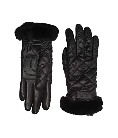 UGG Quilted Performance Tech Gloves with Sherpa Lining (Black) Extreme Cold Weather Gloves