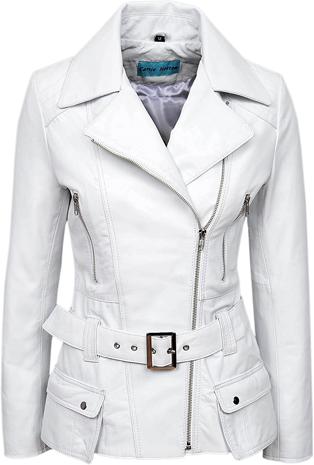 Carrie CH Hoxton 'Feminine' White Napa Ladies Biker Style Designer Real Leather Jacket 2812
