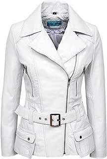 Smart Range Feminine' Ladies White Washed Biker Style Designer Real Leather Jacket 2812
