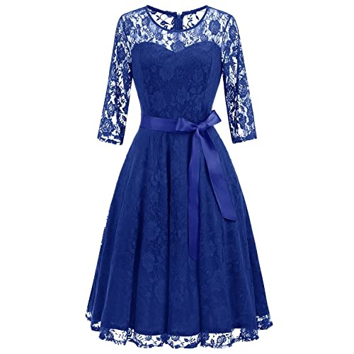 Dressystar Womens Elegant Floral Lace Dress 3/4 Sleeves Bridesmaid Midi Dresses Illusion Neckline