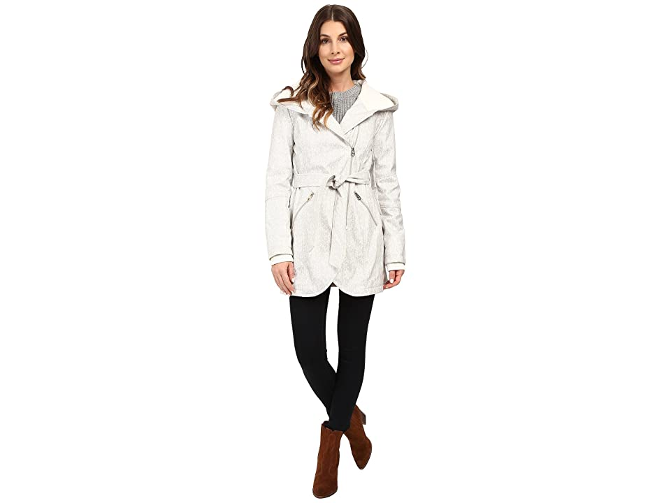 Jessica Simpson Asymmetrical Zip Softshell Jacket (Grey Herringbone) Women