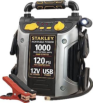 STANLEY J5C09 Portable Power Station Jump Starter: 1000 Peak/500 Instant Amps- 120 PSI Air Compressor- USB Port- Battery Clamps: image