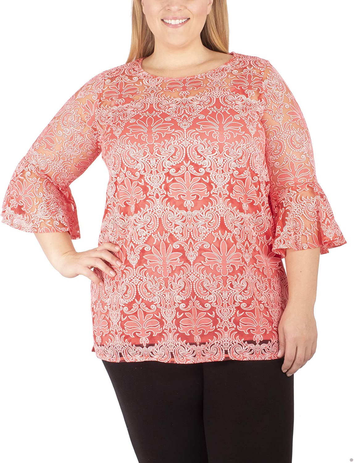 Plus Size Lace Bell-Sleeve Tunic