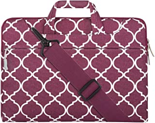MOSISO Laptop Shoulder Bag Compatible 12.3 inch Microsoft Surface Pro 6/5/4/3, 11-11.6 Inch MacBook Air, Ultrabook Tablet, Canvas Geometric Pattern Briefcase Sleeve Case, Wine Red Quatrefoil