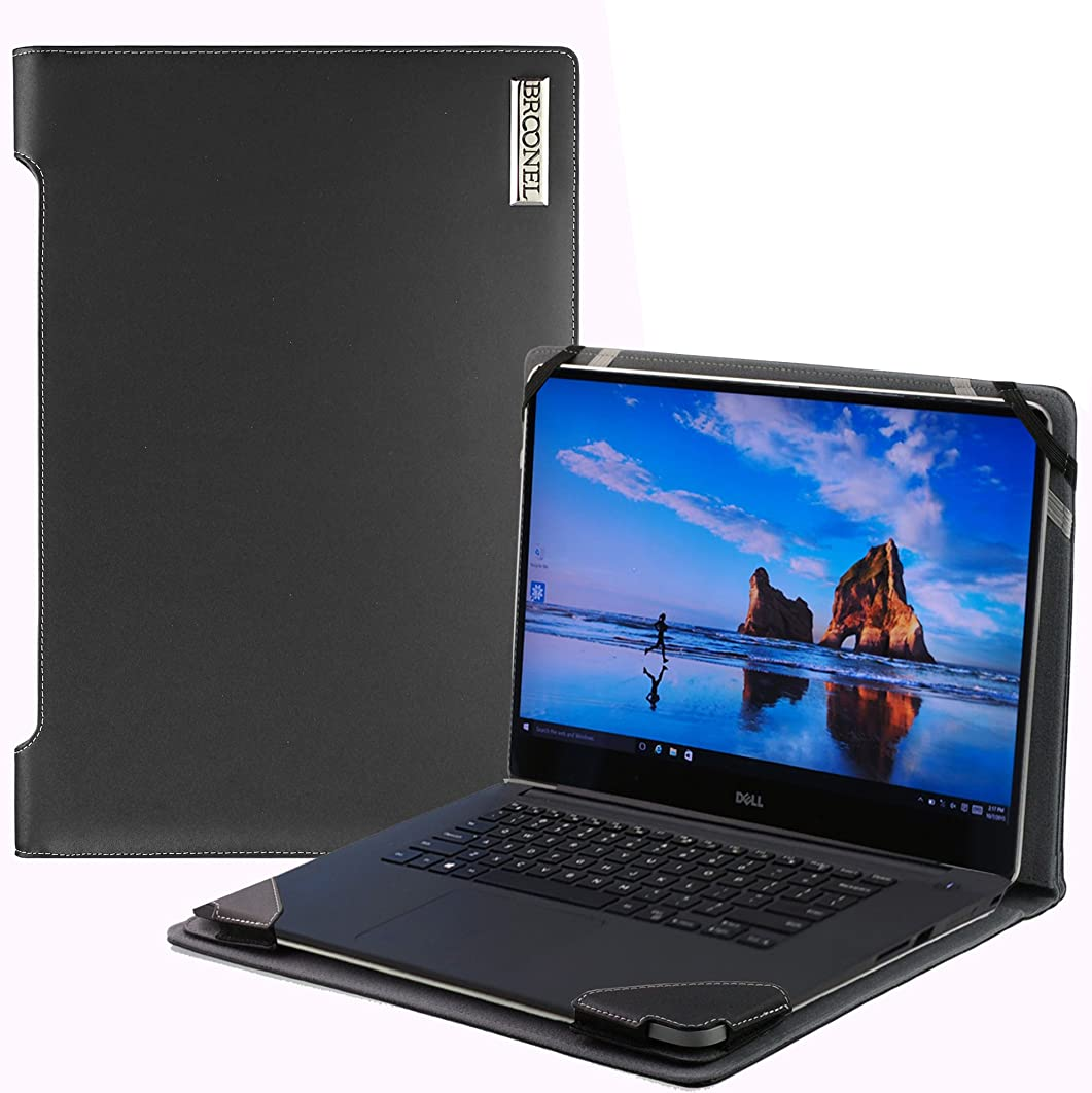 Broonel London - Profile Series - Black Vegan Leather Laptop Case Cover Sleeve For The DELL?Inspiron 15 5000 15.6