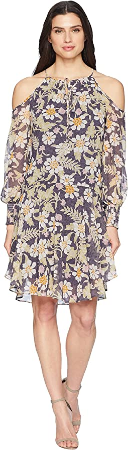Donna Morgan Long Sleeve Printed Chiffon with Cold Shoulder and Drop Waist