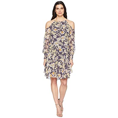 Donna Morgan Long Sleeve Printed Chiffon with Cold Shoulder and Drop Waist (Moss Green/Mauve Multi) Women