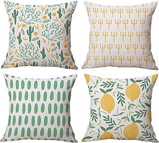 comprar comparacion Gspirit 4 Pack Verano Cactus Limón Algodón Lino Throw Pillow Case Funda de Almohada para Cojín 45x45 cm