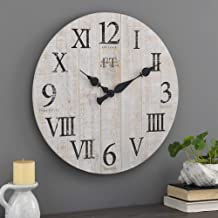 FirsTime & Co. White Rustic Farmhouse Barn Wood Clock, 24 inches