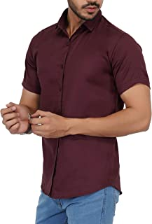 U-TURN Men's Cotton Solid Half Sleeve Shirt