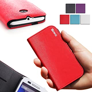Poetic Motorola Moto E Case [FlipBook Series] - Flip Cover Case for Motorola Moto E 1st Gen (2014 Released) ONLY (XT1021 / XT1022 / XT1025) Red (3-Year Manufacturer Warranty from Poetic)