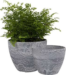 Flower Pots Outdoor Indoor Garden Planters, Plant Containers with Drain Hole, Gray, Marble Pattern (8.6 + 7.5 Inch)