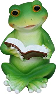 TABOR TOOLS Frog Reading Book Ornament, Terrace Figurine, Miniature Statue, Cute Patio Toad Figure, Outdoor Decor, Sculpture for Your Garden, Home or Office. DM425A. (Frog Reading Book)