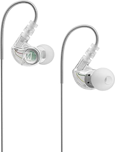 MEE audio M6 Wired Sports In-Ear Earbud Headphones with Memory Wire, Noise Isolating (Clear)