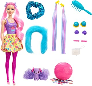 Barbie Color Reveal Glitter! Hair Swaps Doll, Glittery Pink with 25 Hairstyling & Party-Themed Surprises Including 10 Plu...
