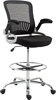 Poly and Bark Hargrove Drafting Chair in Mesh, Black