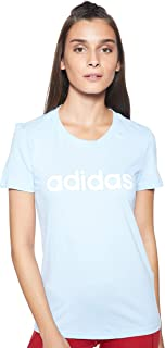 adidas Women's Essentials Linear Slim T-Shirt, Blue (Glow Blue/white)