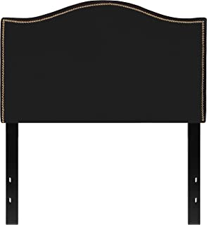 Flash Furniture Lexington Upholstered Twin Size Headboard with Accent Nail Trim in Black Fabric