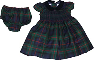 Ralph Lauren Baby Girls 100% Wool Plaid Collared Dress with Diaper Cover