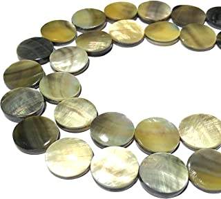 [ABCgems] Extremely Rare Saltwater New Zealand Golden/Green Abalone Shell (Exquisite Luster) 16mm Coin Beads for Beading & Jewelry Making