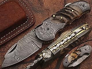 Custom made damascus blade & bolsters ram horn handle,with genuine leather sheath 5060-RD