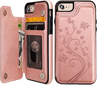 Vaburs iPhone 7 iPhone 8 Case Wallet with Card Holder, Embossed Butterfly Premium PU Leather Double Magnetic Buttons Flip Shockproof Protective Cover for iPhone 7 iPhone 8 Case(Rose Gold)