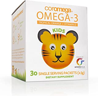 Coromega Kids Omega 3 Fish Oil Supplement, 650mg of Omega-3s, Tropical Orange + Vitamin D, 30 Single Serve Squeeze Packets