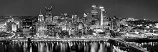 Pittsburgh Skyline 2017 PHOTO PRINT UNFRAMED NIGHT Downtown City Black & White BW 11.75 inches x 36 inches Photographic Panorama Poster Picture Standard Size