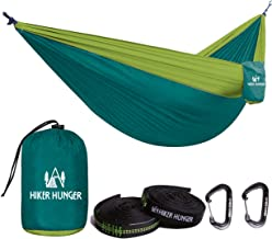 Hiker Hunger Outfitters Hammock Camping Double with Tree Straps & Carabiners - USA Based Outdoor Brand - Large Double Size, Portable & Ultra Light