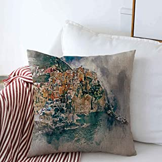 Staroden Pillow Case Manarola Digital Watercolor Painting Small Coastal Italy Village in Italian Region Liguria Cinque Home Decor Throw Pillows Covers 18
