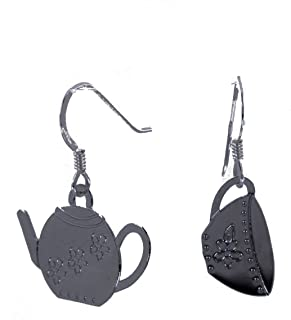 Tea for Two Teapot Teacup Dangle Earrings Made in USA - Gift Boxed
