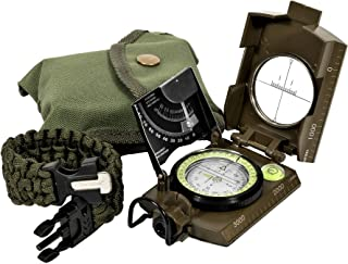 Northies Combo Pack Military Lensatic Sighting Compass and Paracord Survival Bracelet, Fire Starter, Whistle, Aluminum Alloy, Waterproof, Carrying Bag, Tactical Outdoor Gear for Camping and Hiking