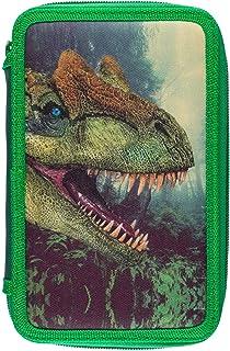 Idena 22913 - Astuccio per Studenti Triple con 3 Cerniere, Motivo Dinosauro, 43 Pezzi, Riempito con matite Colorate, Righe...