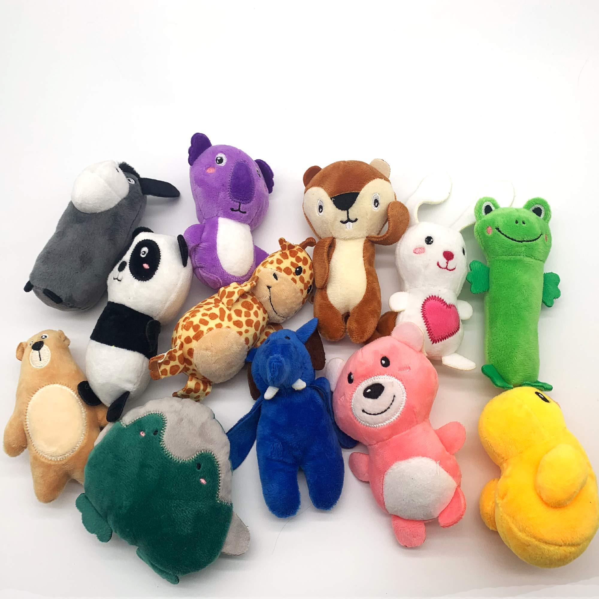 Jalousie 12 Pack Plush Animal Dog Toy Dog Squeaky Toys Cute Pet Plush Toys Stuffed Puppy Chew Toys for Small Medium Dog Puppy Pets - Bulk Dog Toys