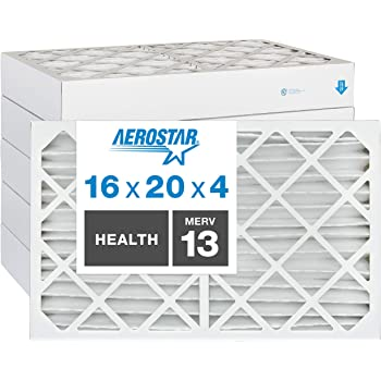 "Aerostar Home Max 16x20x4 MERV 13 Pleated Air Filter, Made in the USA, Captures Virus Particles, (Actual Size: 15 1/2""x19 1/2""x3 3/4""), 6-Pack"