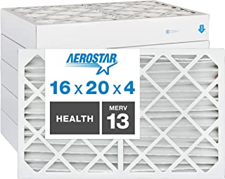 """Best Aerostar Home Max 16x20x4 MERV 13 Pleated Air Filter, Made in the USA, Captures Virus Particles, (Actual Size: 15 1/2""""x19 1/2""""x3 3/4""""), 6-Pack Review"""